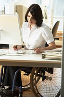 Handicapped Woman in Wheelchair Working in Office.