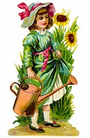 kitsch / souvenir, girl with watering can, Germany, circa 1895,