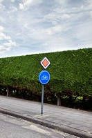 Road sign for a bicycle lane in Belgium