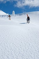 Skiers climbing up to Mount Seymour, Mount Seymour Provincial Park, Vancouver, British Columbia