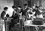 exhibitions, medicine, hygiene exhibition, Berlin 1883, cooking school of the Berlin Housewifes Club, wood engraving after drawing by Carl Koch, 1883,