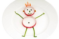 vegetable man on dish