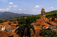 Aerial view of old colonial city from church steeple, Trinidad, Cuba