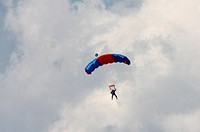 Skydiver coming in to land