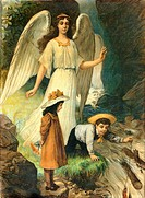 religion, Christianity, guardian angel, children, Germany, circa 1900,
