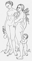 people, women, two nude women with children, drawing by Lucas Cranach,16th century,