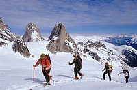 Backcountry skiers ski touring on Bugaboo Glacier, British Columbia, Canada.