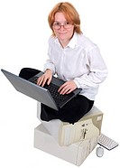 Girl working on the laptop