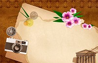 The image of letter, flowers, and camera