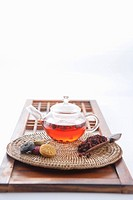 Tea setting and Korean dessert on the traditional Korean door