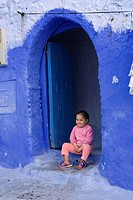 children in the medina of Chefchaouen, Rif region, Morocco, North Africa