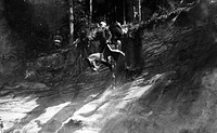sports, horse_riding, military endurance riding, Germany, 1913, Lieutenant Kaffl with his horse at a steep slope,