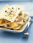 tuna, broccoli and mango lasagne with caper and mustard condiment