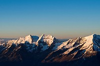 Mountain scenery above from Saas Fee, Fletschhorn 3993 m, Lagginhorn 4010 m, Weissmies 4023 m, Switzerland, Alps