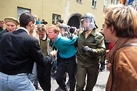 geography / travel, Germany, politics, demonstrations, demonstration against the G_7 summit in Munich, Marienhof, 6.7.1992, Bavarian riot police arres...