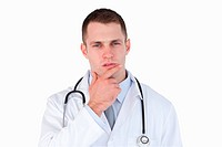 Close up of doctor thinking on white background