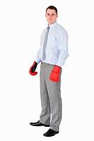Businessman ready for tough negotiation on white background