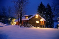 Log House on Winter Night