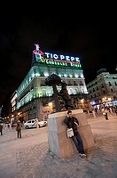 Night view of Puerta del Sol Spanish for 'Gate of the Sun'  It is one of the most well known and busiest places in Madrid  This is the centre Km 0 of ...