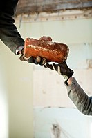People working in a house or building in renovation