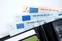 Various euro banknotes in a wallet