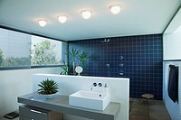 Tiled open shower in modern bathroom