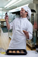 Chef reading an sms