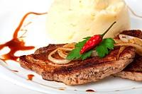 pork steak with chili pepper