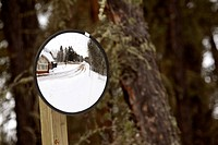 Mirror showing South Gate building at Waskesui National Park