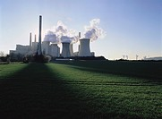 Power Station Smokestacks Located in Countryside