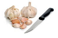Two garlic and kitchen knife