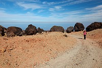 Teide landscape on Tenerife with woman hiking
