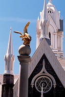 A gilded sculpture of seagulls stands on a monument honoring the seagulls Mormons believe were sent by God to eat the crickets which threatened to des...