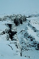 Snow covers the Mid_Atlantic Rift, where the earth´s surface is moving apart at the rate of five centimeters a year. Iceland.