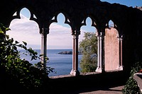 A patio on the Hammond Castle Museum overlooks a point called both Norman´s Woe and Hesperus Point. The castle was the estate of inventor John Hays Ha...