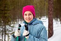Young girl on ski trip
