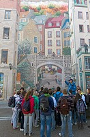 The Mural of Quebecers Fresque des Québécois is located in the wall of the house Soumande, rue Notre-Dame, in the park of La Cetière. This mural of 42...