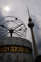 The Universal clock and Television tower  Alexanderplatz, Berlin