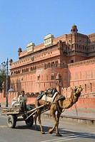 India, Rajasthan, Bikaner, Camel cart and Junagarh fort.