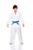Karate. Man in a kimono.