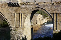 St  Martin's Bridge, Water mill, Tajo River, Toledo, World Heritage Site by UNESCO, Castilla La Mancha, Spain, Europe