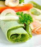 Rolled Thin Green Pancake