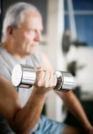 Senior Man Lifting Dumbbell