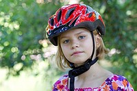 girl wearing a bike helmet _ portrait