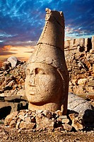 Picture & photo of the statues of around the tomb of Commagene King Antochus 1 on the top of Mount Nemrut, Turkey . In 62 BC, King Antiochus I Theos o...