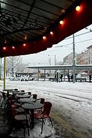 Plainpalais place by winter, Geneva, Switzerland