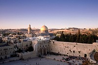 Wailing Wall and Mosque of Omar in Jerusalem