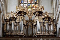 Saint Barbara church _ Organ Loft and Stained glass in the church