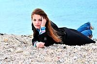 girl on the pebble