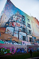 Mural on the Tommy Weisbecker haus community center facade, Kreuzberg, Berlin, Germany, Europe